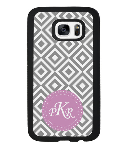 Grey Block Chevron Pink Monogram | Samsung Case