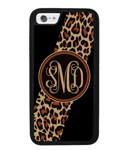 Leopard Animal Skin Script Monogram | Apple iPhone Case