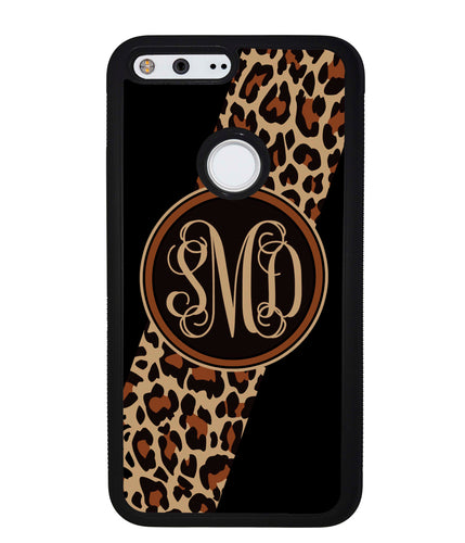 Leopard Animal Skin Script Monogram | Google Phone Case