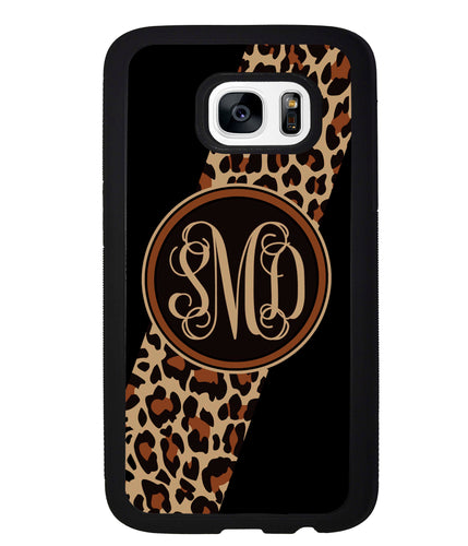 Leopard Animal Skin Script Monogram | Samsung Phone Case