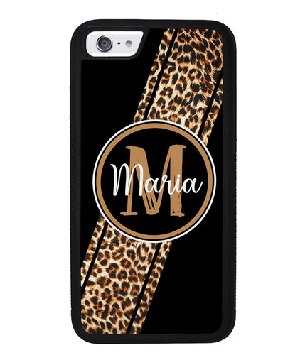 Leopard Animal Skin Stripe Personalized | Apple iPhone Case