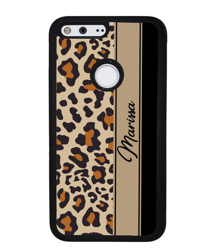 Leopard Skin Brown and Black Personalized | Google Phone Case