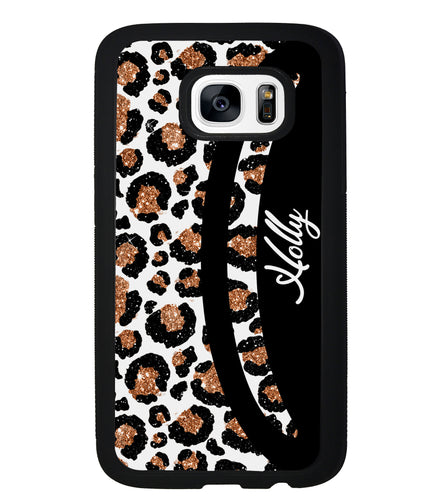 Leopard Moon Curve White and Gold Personalized | Samsung Phone Case