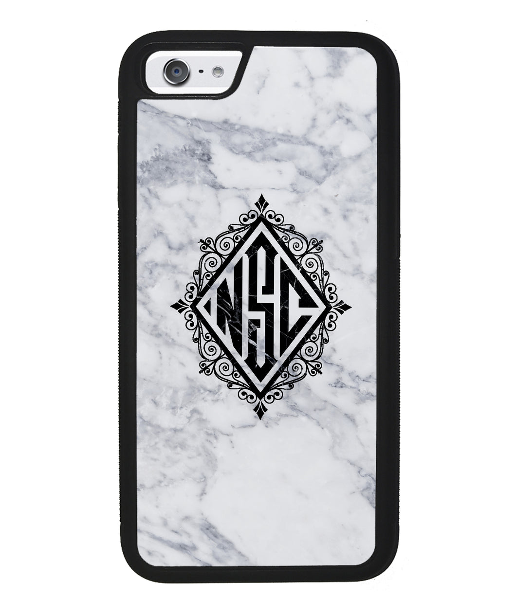 White Marble Diamond Monogram | Apple iPhone Case