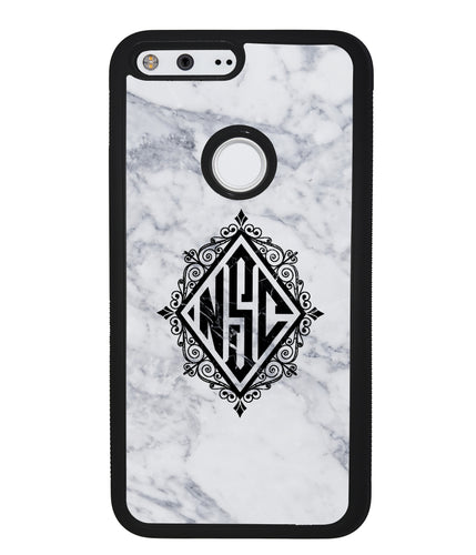 White Marble Diamond Monogram | Google Case