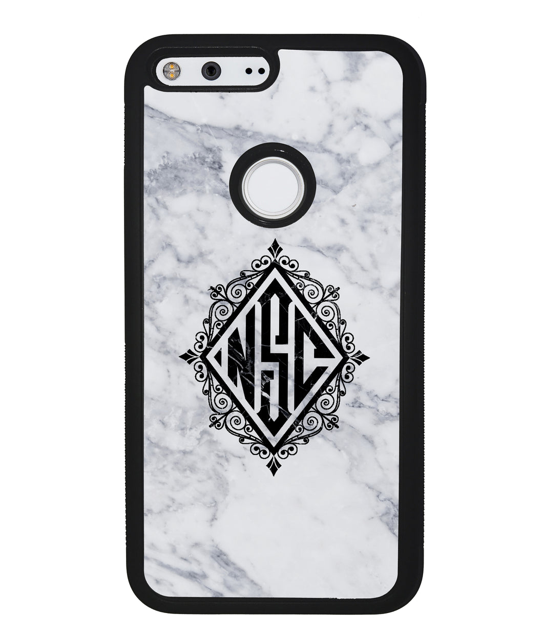 White Marble Diamond Monogram | Google Phone Case