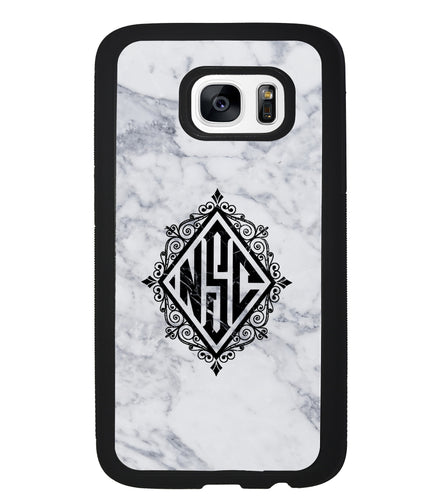 White Marble Diamond Monogram | Samsung Case