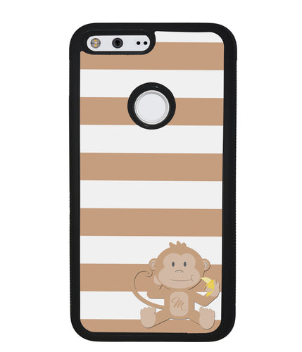 Monkey Brown and White Bars Initial | Google Phone Case