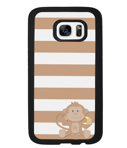 Monkey Brown and White Bars Initial | Samsung Case