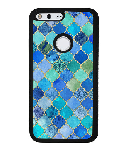 Moroccan Aqua Teal Gold Pattern | Google Phone Case