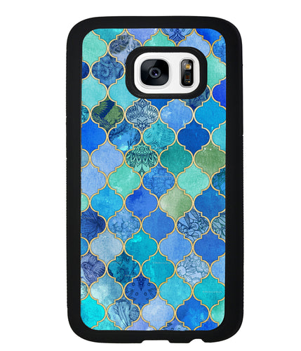 Moroccan Aqua Teal Gold Pattern | Samsung Phone Case