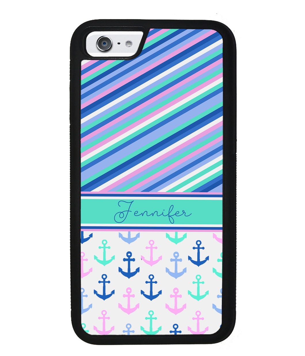 Nautical Pinstripes Anchors Personalized | Apple iPhone Case