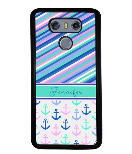 Nautical Pinstripes Anchors Personalized | LG Phone Case
