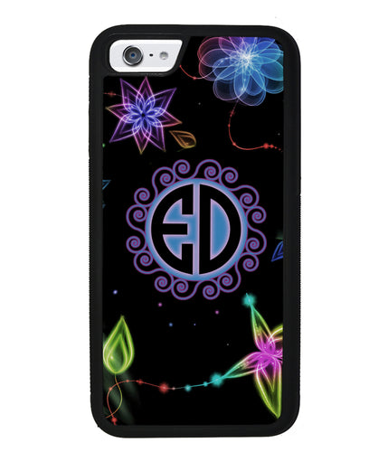 Neon Flowers Personalized Monogram | Apple iPhone Case