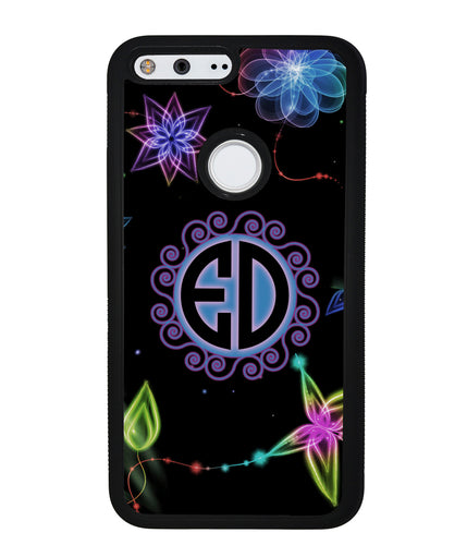 Neon Flowers Personalized Monogram | Google Phone Case