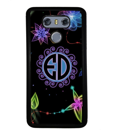 Neon Flowers Personalized Monogram | LG Phone Case