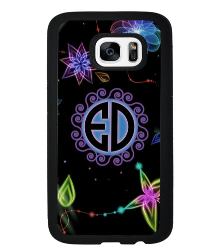Neon Flowers Personalized Monogram | Samsung Phone Case