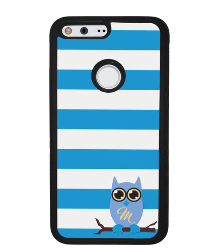 Owl Blue and White Bars Initial | Google Phone Case