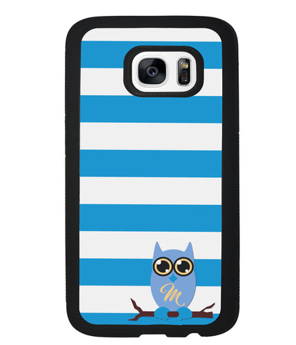 Owl Blue and White Bars Initial | Samsung Case
