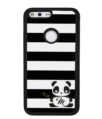 Panda Black and White Bars Initial | Google Phone Case