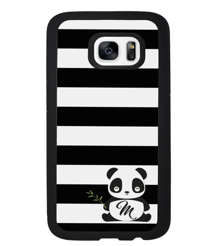 Panda Black and White Bars Initial | Samsung Case