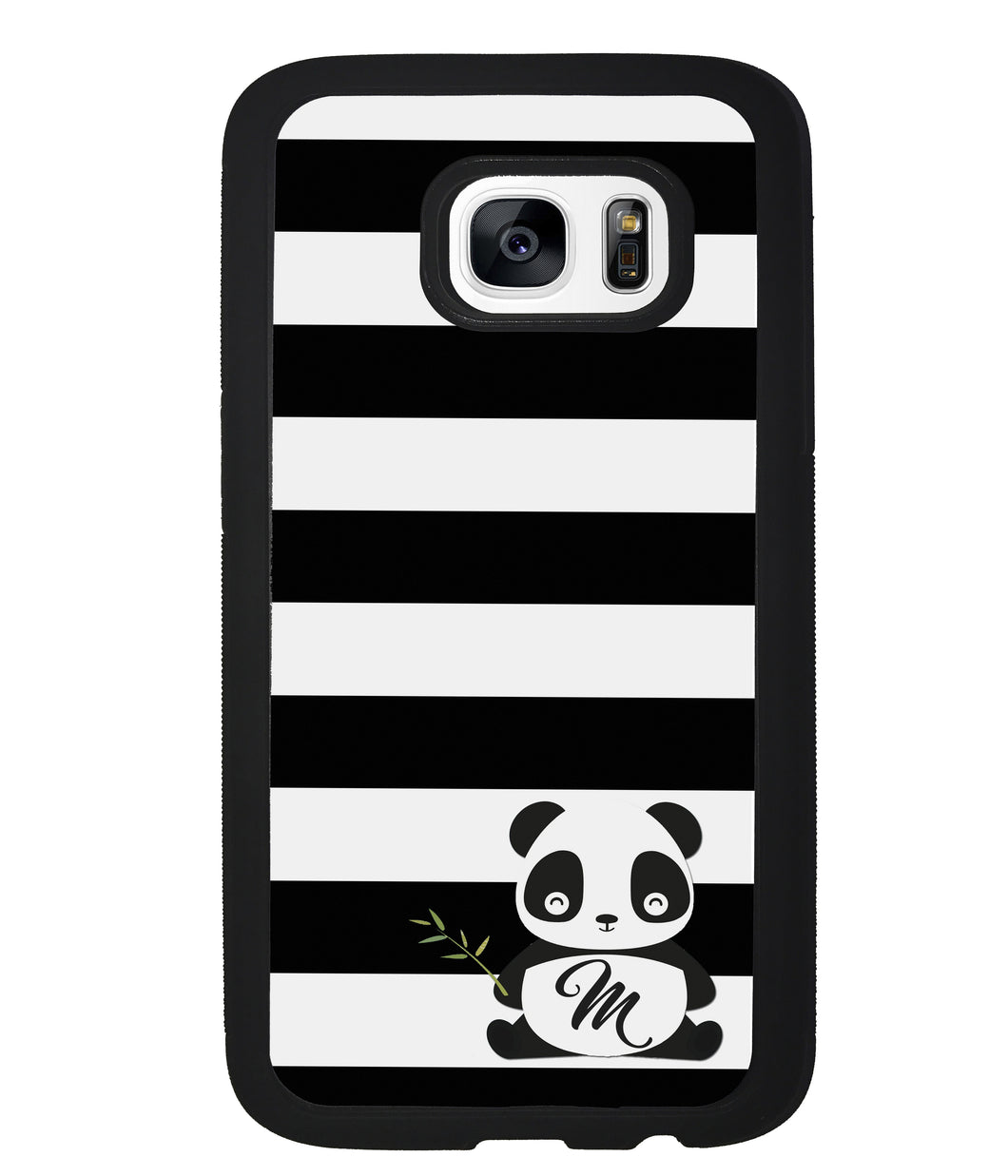 Panda Black and White Bars Initial | Samsung Phone Case