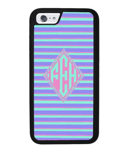 Pastel Pin Stripes Diamond Monogram | Apple iPhone Case