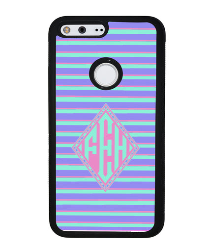 Pastel Pin Stripes Diamond Monogram | Google Phone Case