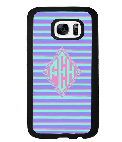 Pastel Pin Stripes Diamond Monogram | Samsung Phone Case