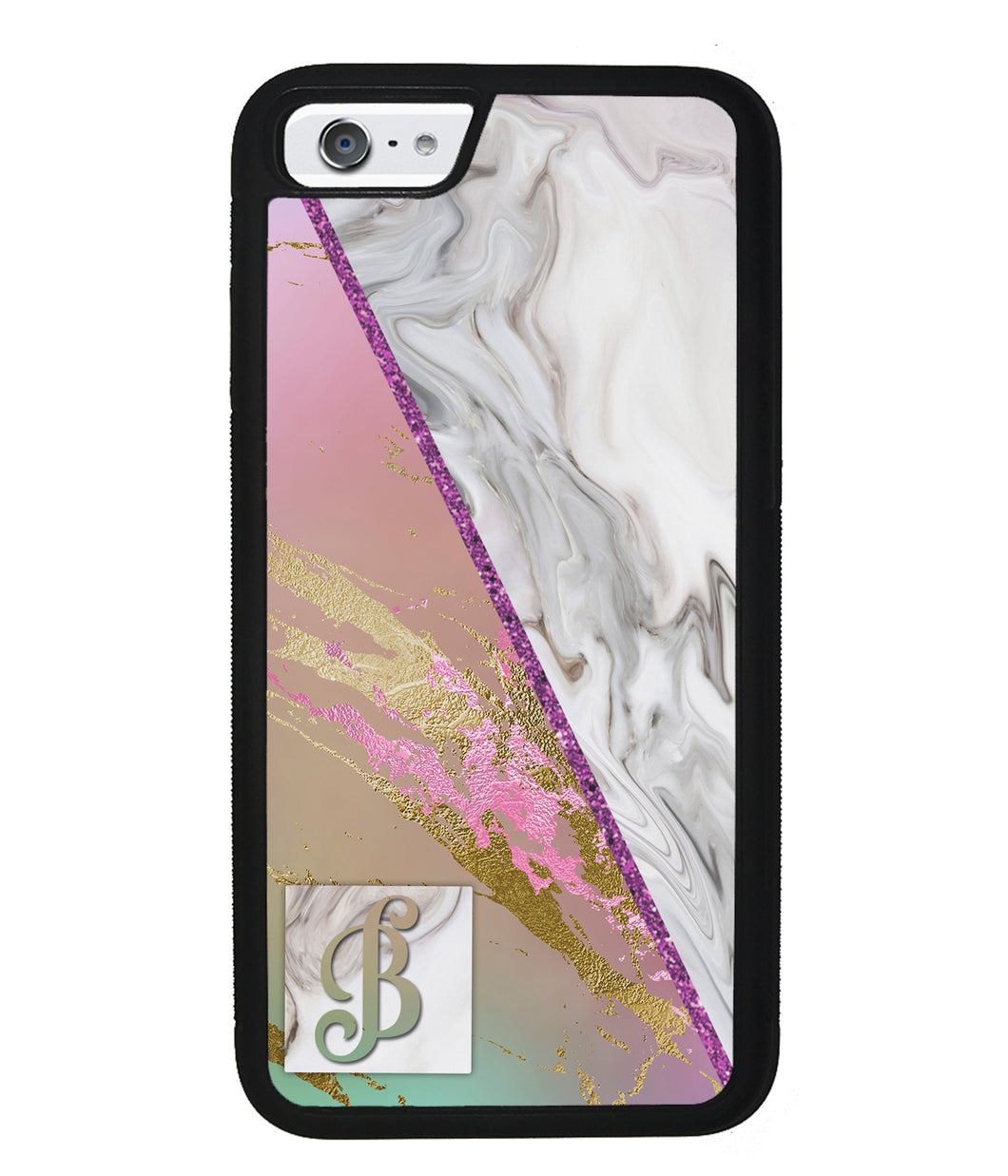 Pastel Unicorn Marble White Marble Initial | Apple iPhone Case