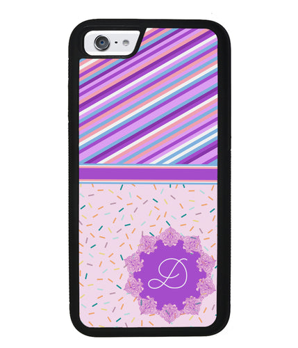 Pin Stripes and Sprinkles Initial | Apple iPhone Case
