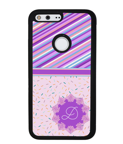 Pin Stripes and Sprinkles Initial | Google Phone Case