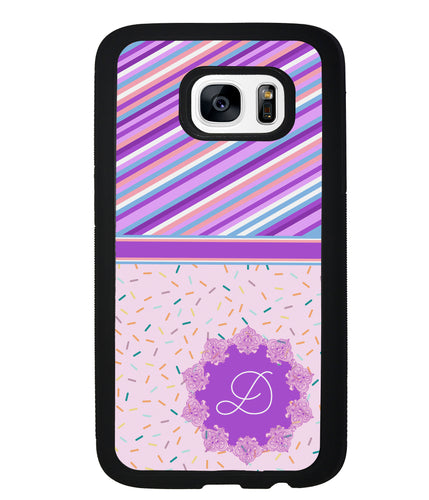 Pin Stripes and Sprinkles Initial | Samsung Phone Case
