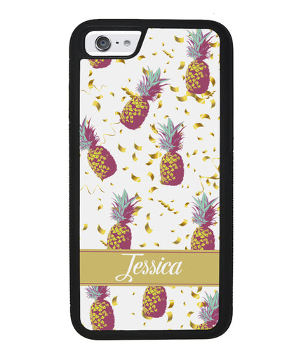 Pineapple Golden Flecks Personalized | Apple iPhone Case