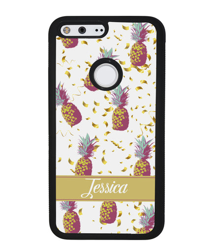 Pineapple Golden Flecks Personalized | Google Phone Case
