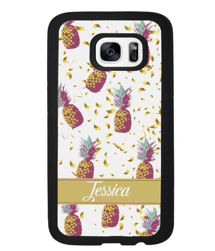Pineapple Golden Flecks Personalized | Samsung Phone Case