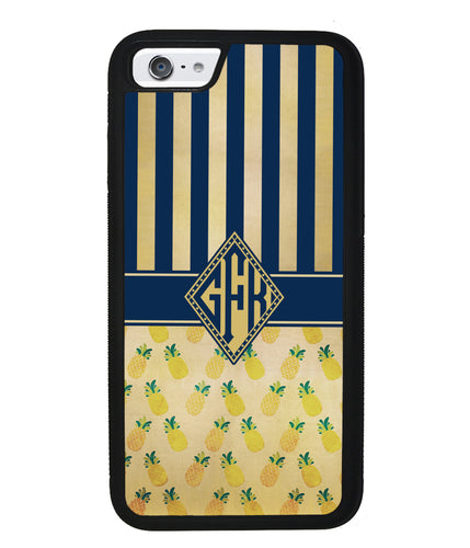 Pineapple Stripes Diamond Monogram | Apple iPhone Case