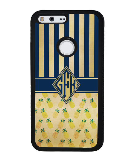 Pineapple Stripes Diamond Monogram | Google Phone Case
