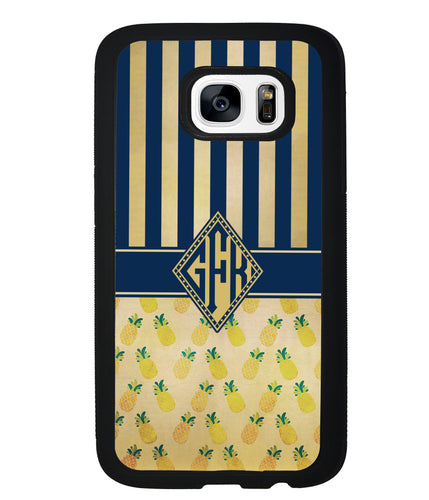 Pineapple Stripes Diamond Monogram | Samsung Phone Case