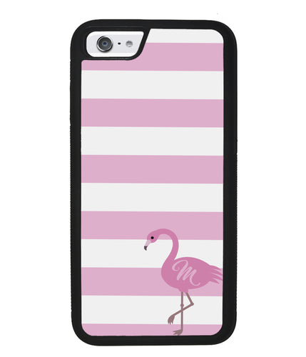 Pink Bars Flamingo Initial | Apple iPhone Case