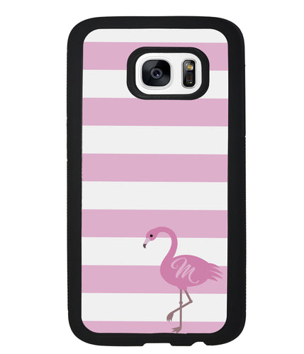 Pink Bars Flamingo Initial | Samsung Case