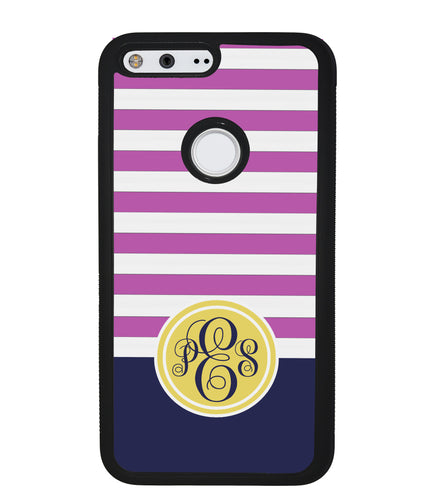 Pink Bars Gold Blue Monogram | Google Phone Case
