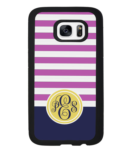 Pink Bars Gold Blue Monogram | Samsung Phone Case