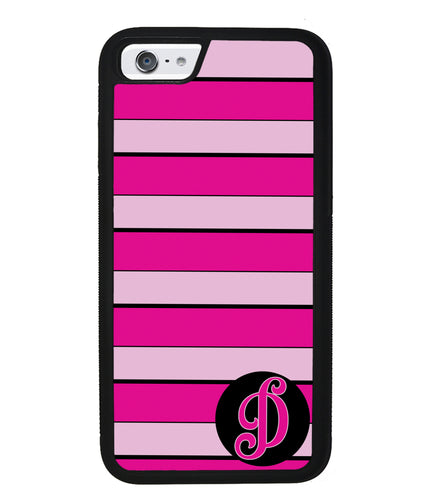 Pink Bars Personalized Initial | Apple iPhone Case