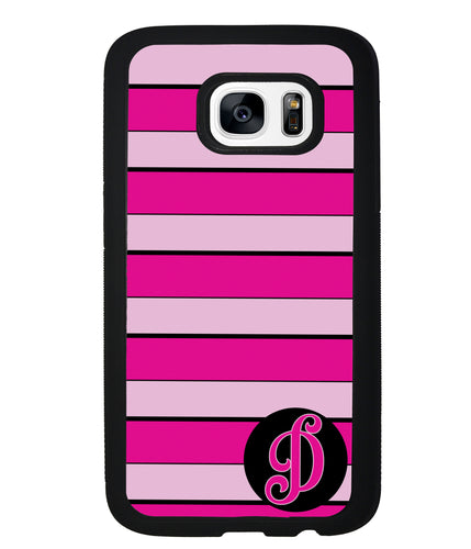 Pink Bars Personalized Initial | Samsung Phone Case