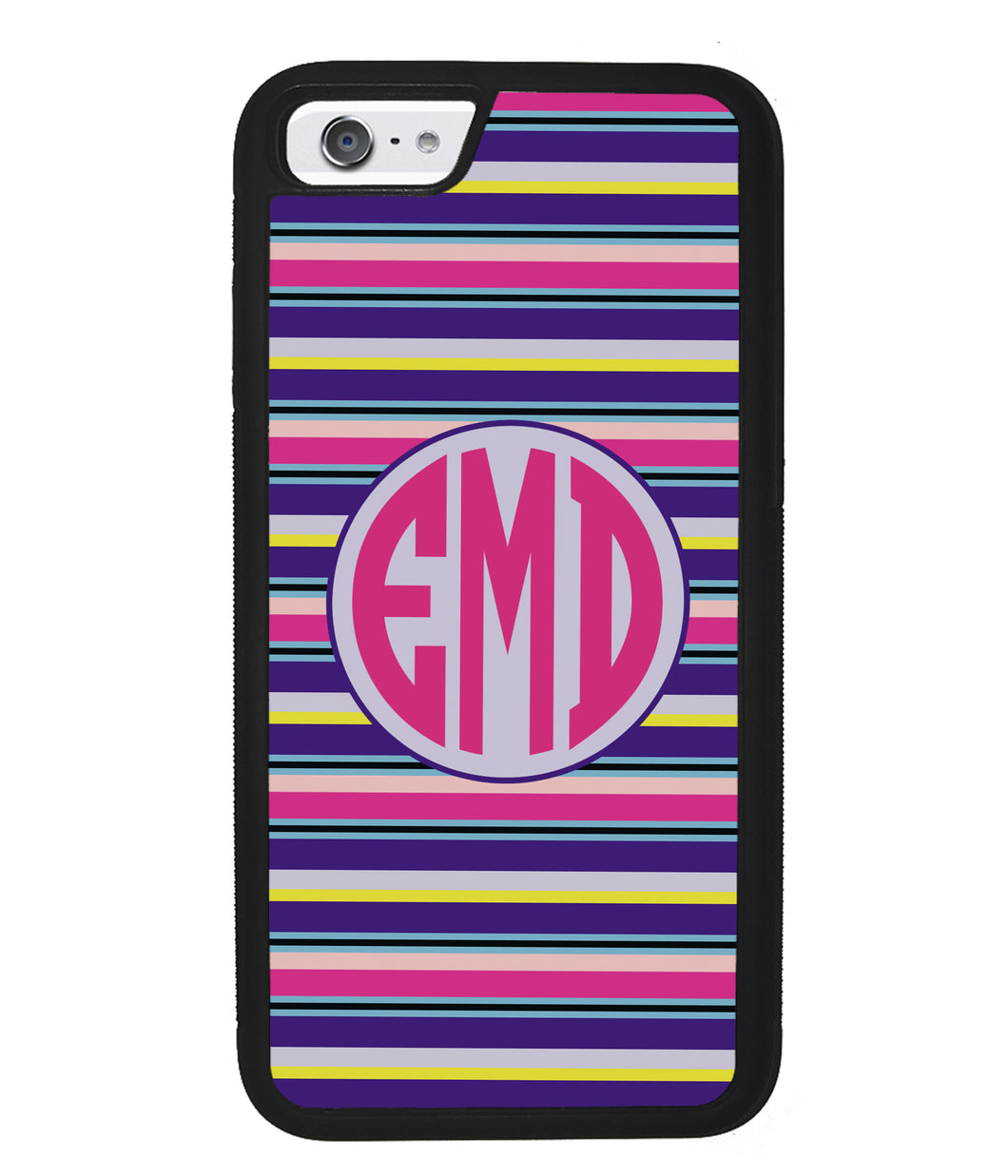 Pink Blue Purple Teal Bar Monogram | Apple iPhone Case