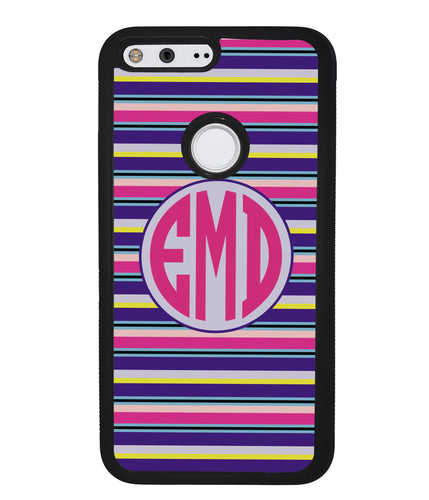 Pink Blue Purple Teal Bar Monogram | Google Case