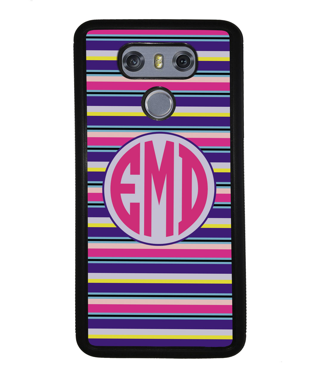 Pink Blue Purple Teal Bar Monogram | LG Phone Case