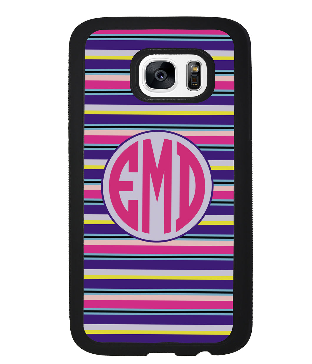 Pink Blue Purple Teal Bar Monogram | Samsung Phone Case