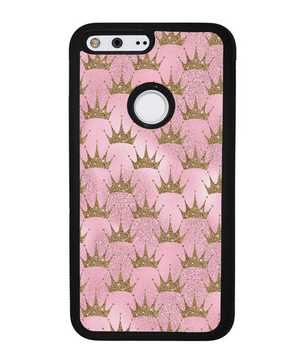 Pink Glitter Gold Crown | Google Phone Case